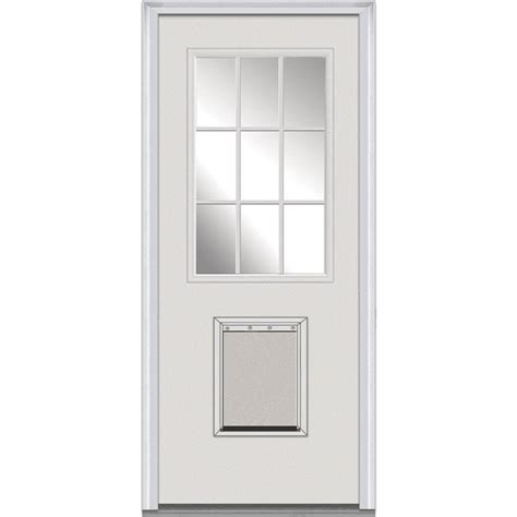 Exterior Door With Pet Door Milliken Millwork 33 5 In X 81 75 In Classic Clear Glass 9 Lite Medium Pet Exterior Door
