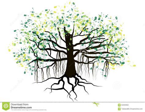 tree  roots underground watercolor designvector stock