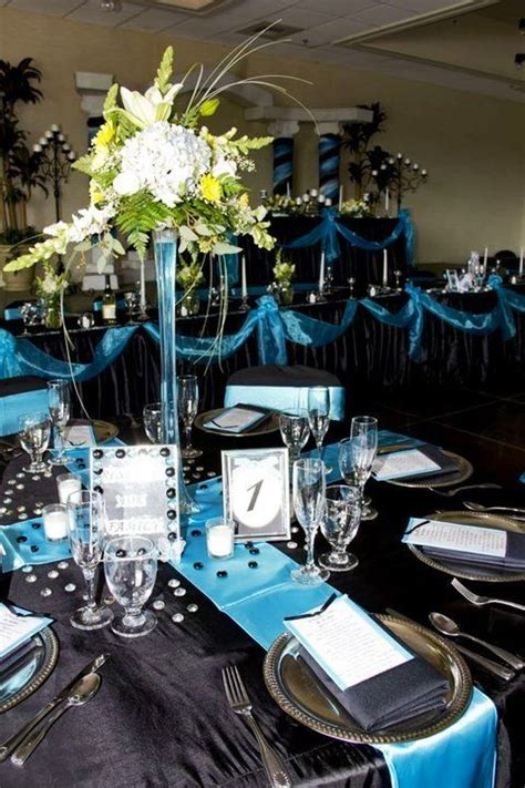 turquoise runner black table cloth silver chargers centerpiece weddings wedding