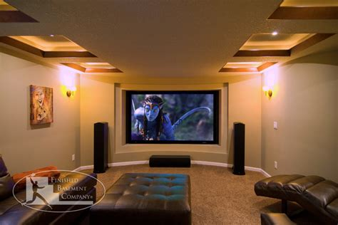 basement home theater wall contemporary home theater