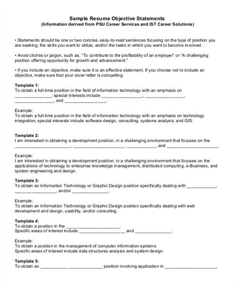 generic objective statement for resume generic resume template 28 free word pdf documents