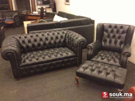 canape cuir maroc fauteuil chesterfield en cuir noir casablanca souk ma