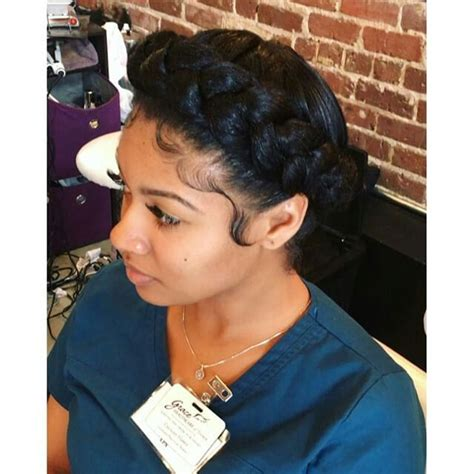 halo crowngoddess braids on natural hair black girl with pinterest supremecurlz slayed edges pinterest