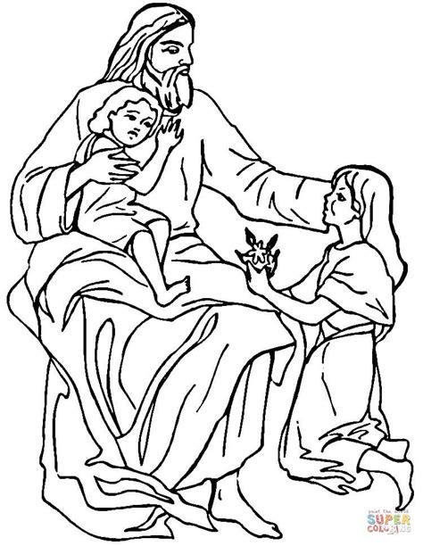 Dibujo de Jesús con niños para colorear | Dibujos para
