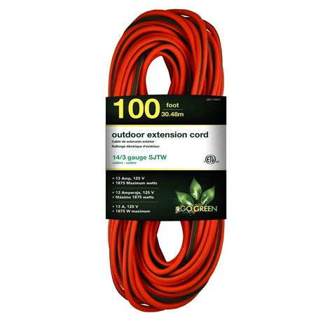 100 ft 14 outdoor extension cord go green power 100 ft 14 3 sjtw outdoor extension cord