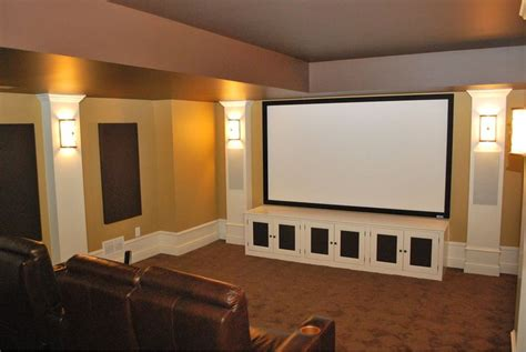 Theater Room Cabinets by In This Theater Speakers Are Concealed In Columns On Each