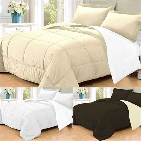 queen down comforter sets 3 pc goose down alternative polyester filled reversible