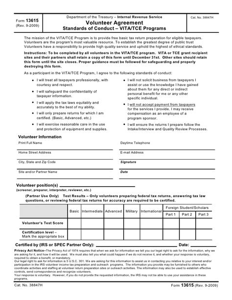 revenue agreement template volunteer agreement form 13615