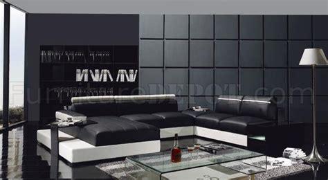 enez ultra modern contemporary black white leatherette black white leather ultra modern u shape sectional sofa