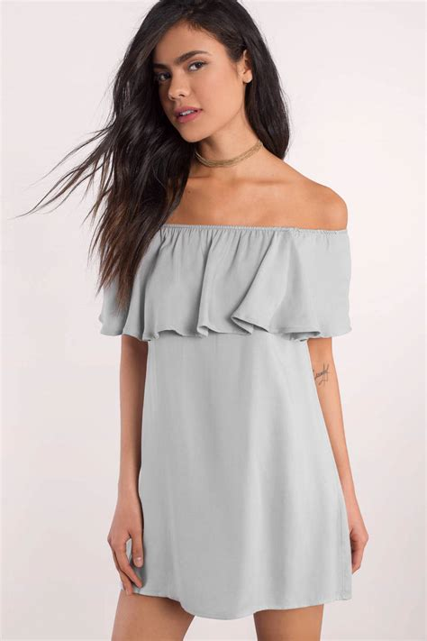 Dres Offshoulder grey shift dress shoulder dress grey dress grey