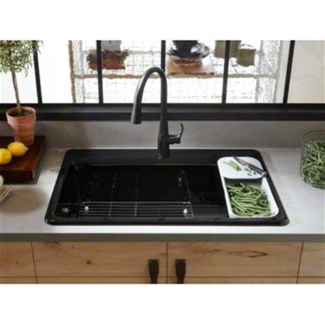 Kitchen Sink Accessory Kohler 33 Quot X 22 Quot X 9 5 8 Quot Top Mount Single Bowl Kitchen Sink With Accessories K 5871 1a2