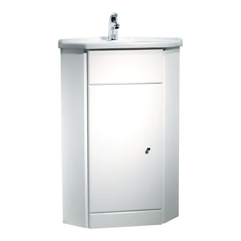 corner bathroom cabinet vanity and sink unit white 57cm