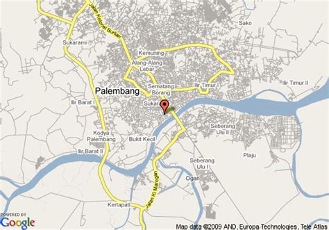 palembang map  palembang satellite image