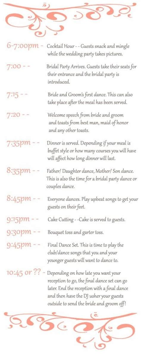how to plan a wedding reception timeline weddbook