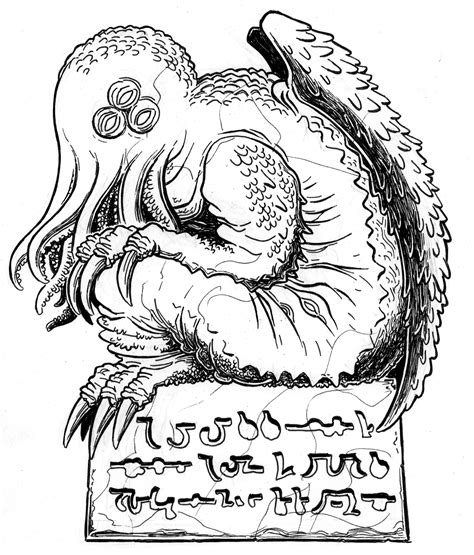Lovecraft Sketch Mwf Cthulhu 2 Mockman Com Cthulhu Coloring Pages