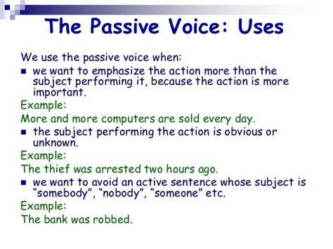 what is the sentence pattern of passive voice introduction to the passive voice ii