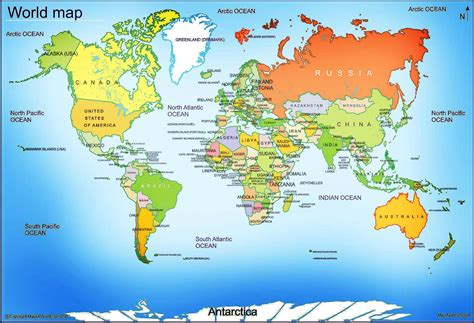 global map with country name world map free large images