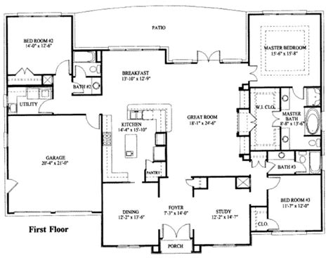 large one story house plan big kitchen with walk in house plan simple one story house floor plans beach large