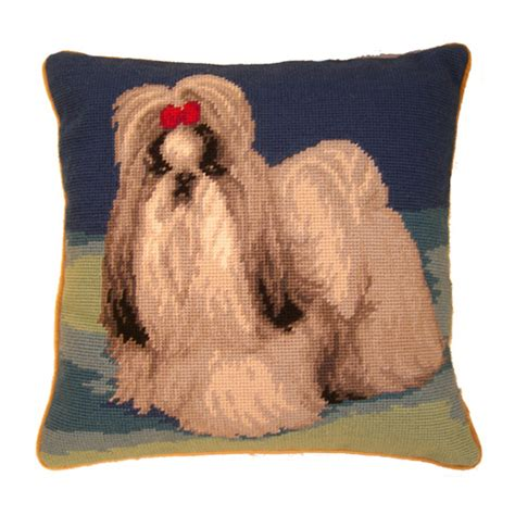 shih tzu pillow shih tzu on blue needlepoint pillow 14 quot agatha louise