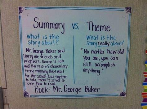 themes in literature evangeline summary vs theme anchor chart ela r 2 summary main