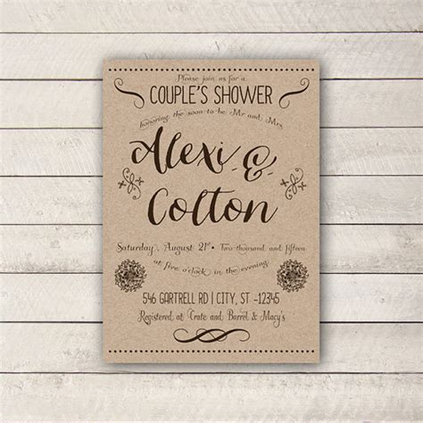 free printable wedding shower for couples couples shower invitation rustic couples shower