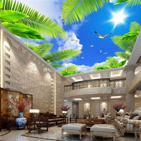 Restaurant Wall Murals blue sky wall mural custom 3d wallpaper for walls natural