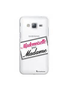 Coque rigide transparent mademoiselle pas madame pour samsung j3 2016