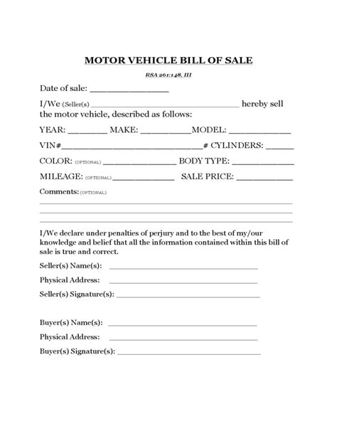 motor vehicle bill of sale template motor vehicle bill of sale template new hshire free