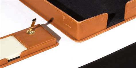 Brown Leather Desk Accessories Set Arenson Office Brown Leather Desk Accessories