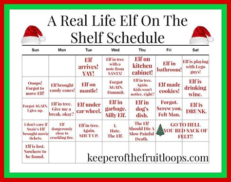 On The Shelf Schedule by A Real On The Shelf Calendar For Real Parents The