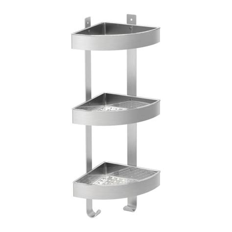 bathroom shelves stainless steel ikea shower grundtal corner wall shelf unit stainless