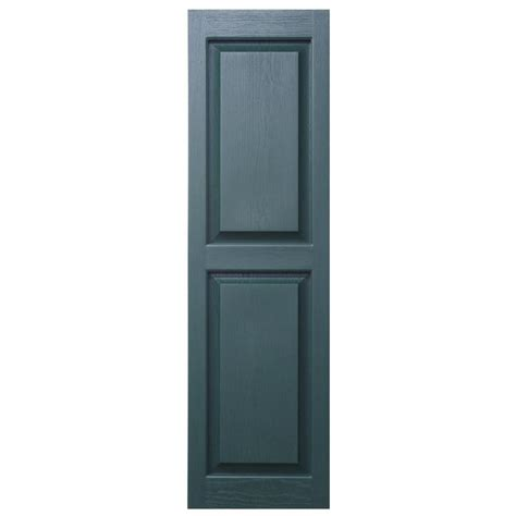 Exterior Wood Shutters Home Depot - shop severe weather 2 pack heritage green raised panel vinyl exterior shutters common 15 in x