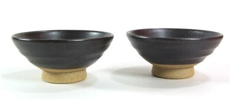 Sake cups traditional Japanese stoneware black X 2