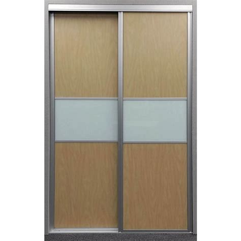 Interior Glass Sliding Doors Contractors Wardrobe 60 In X 81 In Matrix Maple And White Painted Glass Aluminum Interior