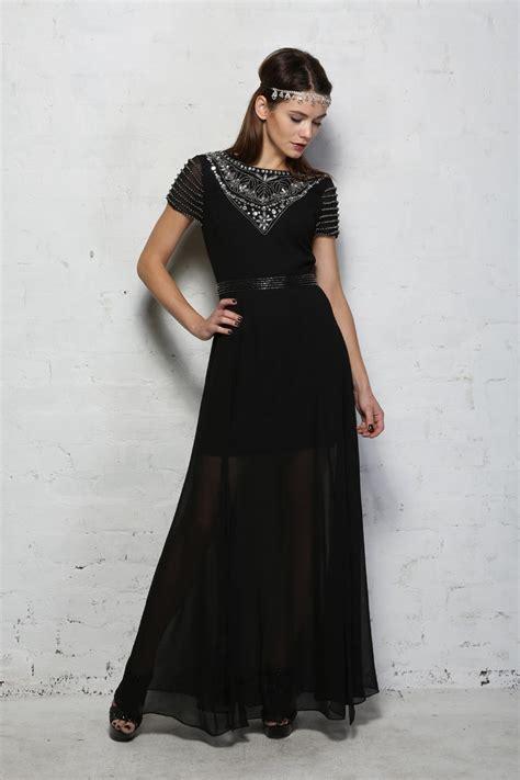 Maxi Aisyah Black 1 black beaded maxi dress 1920s style dress