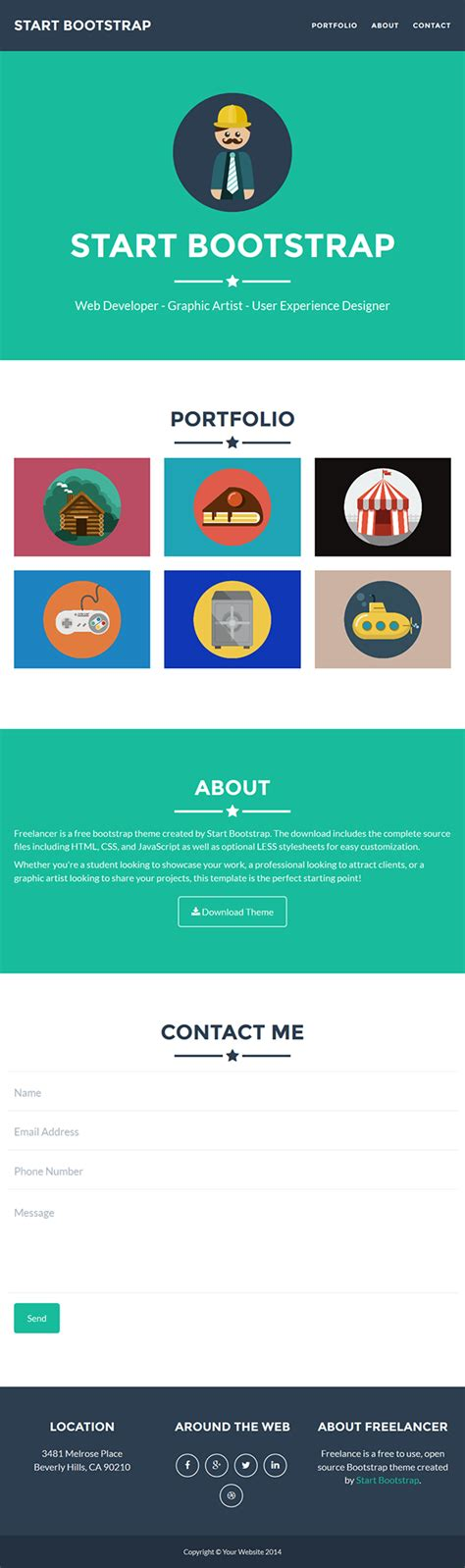 bootstrap themes free cdn freelancer free bootstrap html theme on behance