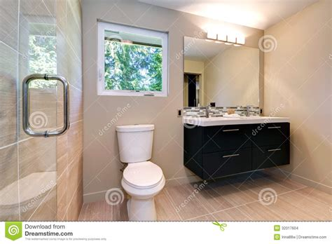 Simple Modern Bathroom New Simple Modern Bathroom With Sinks And Ceramic Tile Stock Photo Image Of