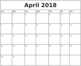Calendar 2018 Monthly April 2018 Printable Monthly Calendar