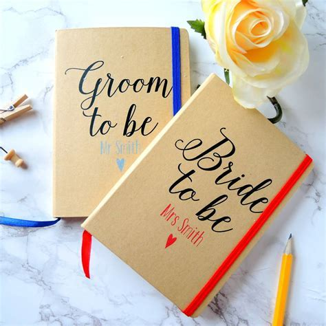 personalised bride and groom wedding planner notebooks by