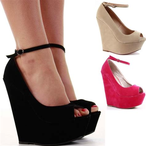 high heeled wedges womens platform high heel strappy peeptoe wedge
