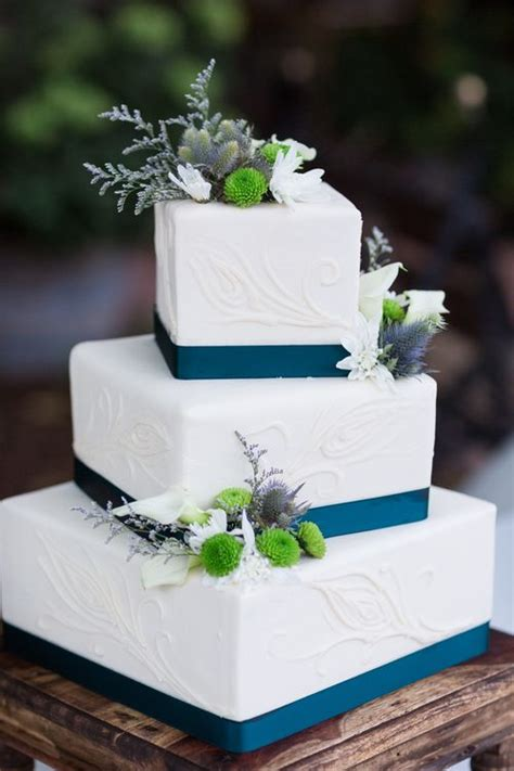 Wedding Square Cake by 1000 Ideas About Teal Cake On Teal Cupcakes