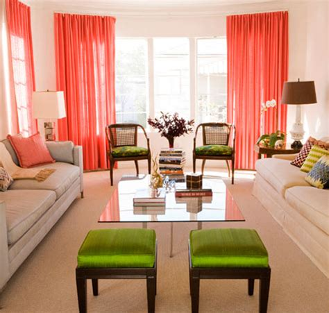 Coral Color Living Room by Wemple Coral Curtains Why Not