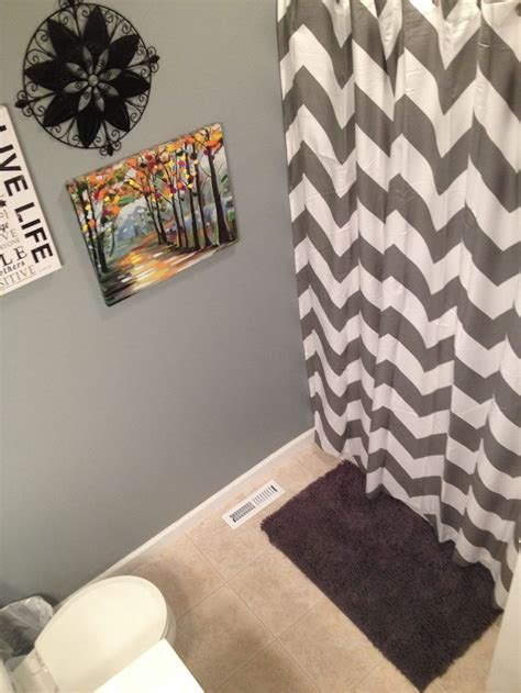 Small Bathroom Redecorated With Grey West Elm Chevron Chevron Bathroom Ideas