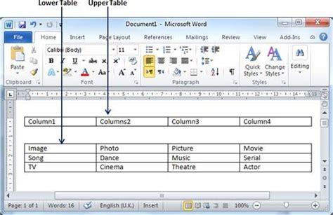 tutorialspoint ms word split a table in word 2010