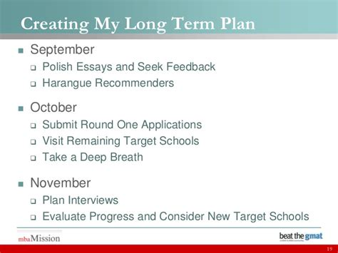 Mbb Mba Target Schools by Creating Your Term Mba Plan