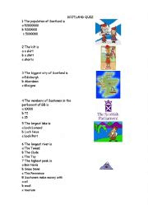 printable quiz about scotland english worksheets scotland quiz