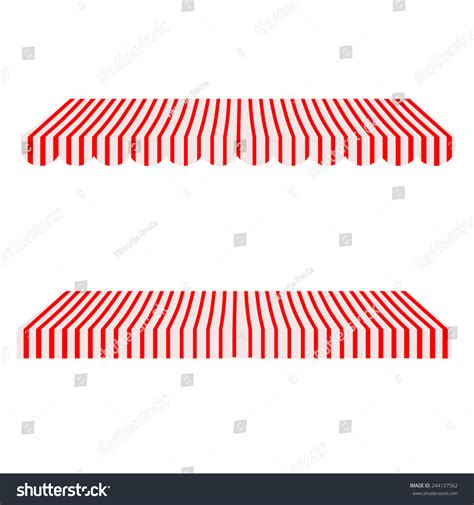 red and white striped awning striped red white shop window awning stock vector