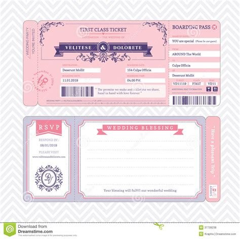 boarding pass template invitation boarding pass wedding invitation template royalty free