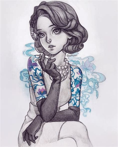 tattoo artist cartoon instagram classy tattoo lady pencil gouache version by qinniart