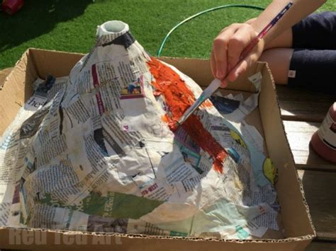 A Volcano Out Of Paper Mache - how to make a papier mache erupting volcano for the